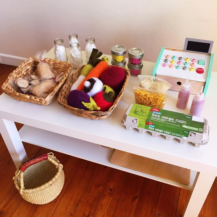Shop play with homemade groceries.