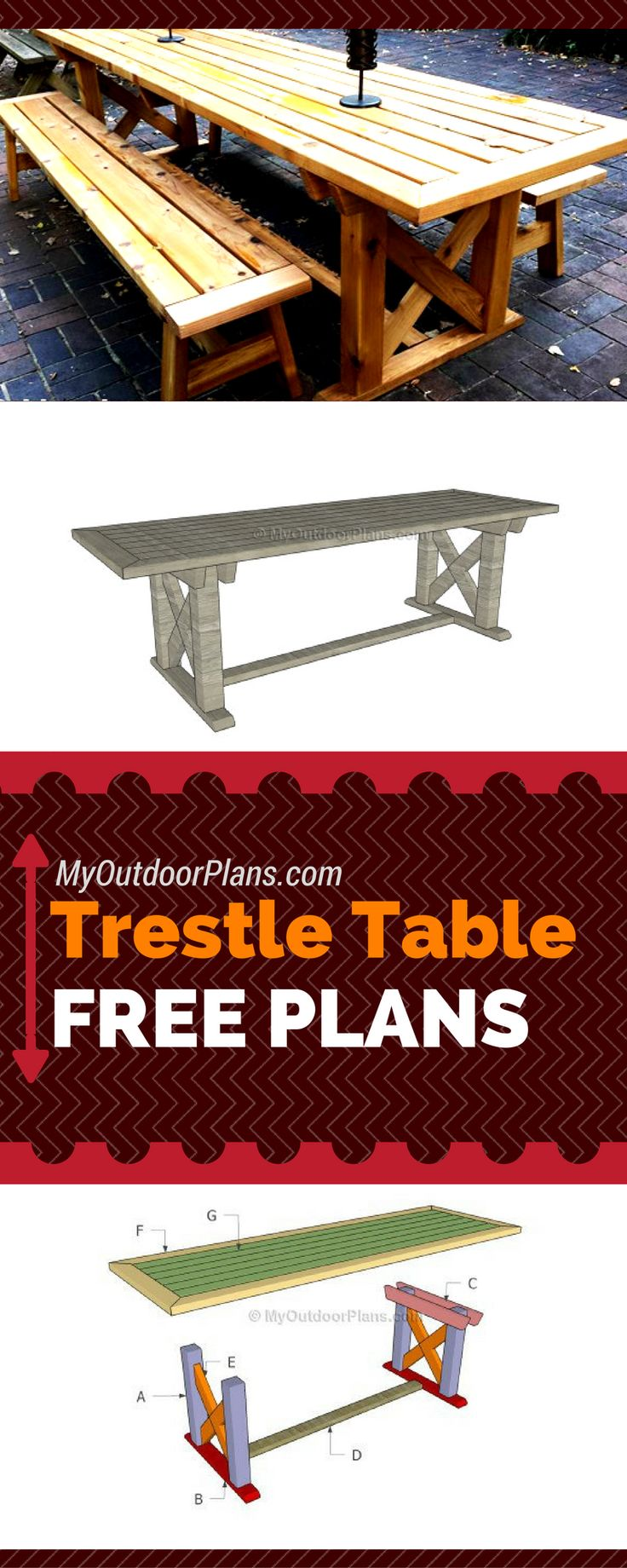 Easy to follow plans for you to build a trestle table. #diy myoutdoorplans.com
