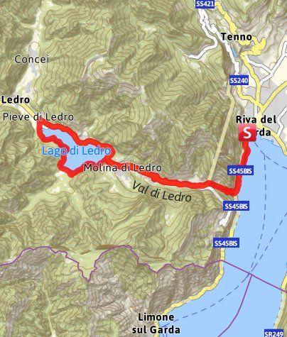 Karte / Auf der alten Ponalestraße zum Lago di Ledro