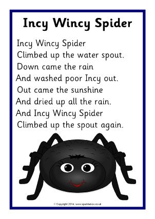 This Nursery Rhyme is one of my favorites since I was young as I love singing it & doing the hand gestures. This nursery rhyme is a example of a spider trying to get up a water spout but keeps getting washed back down. © Copyright SparkleBox Teacher Resources (UK) Ltd
