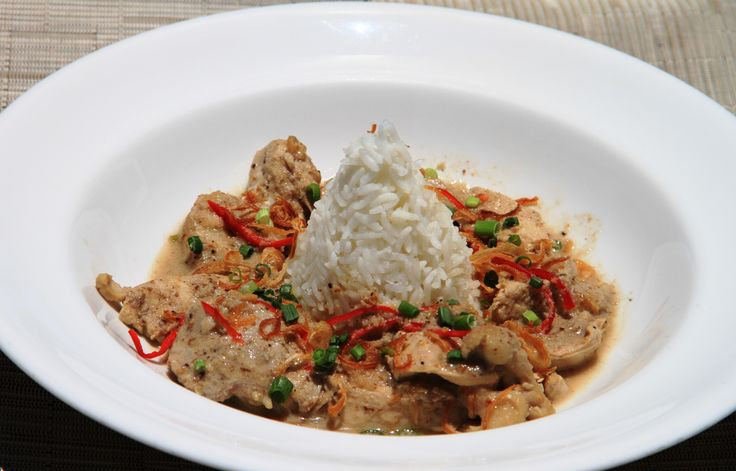 Opor Ayam Chicken cooked in coconut milk with beef liver sambal