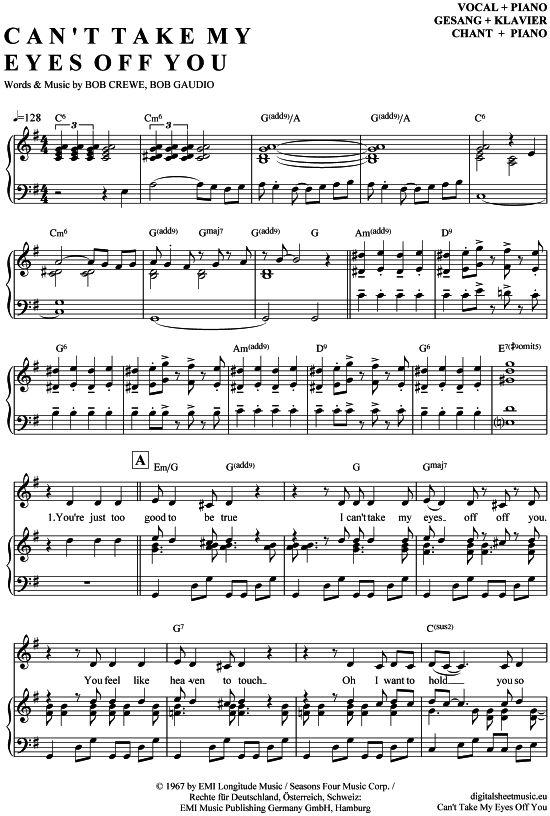 Can´t Take My Eyes Off You (Klavier + Gesang) Hermes House Band, Frankie Valli, Gloria Gaynor [PDF Noten] >>> KLICK auf die Noten um Reinzuhören <<< Noten und Playback zum Download für verschiedene Instrumente bei notendownload Blockflöte, Querflöte, Gesang, Keyboard, Klavier, Klarinette, Saxophon, Trompete, Posaune, Violine, Violoncello, E-Bass, und andere ...