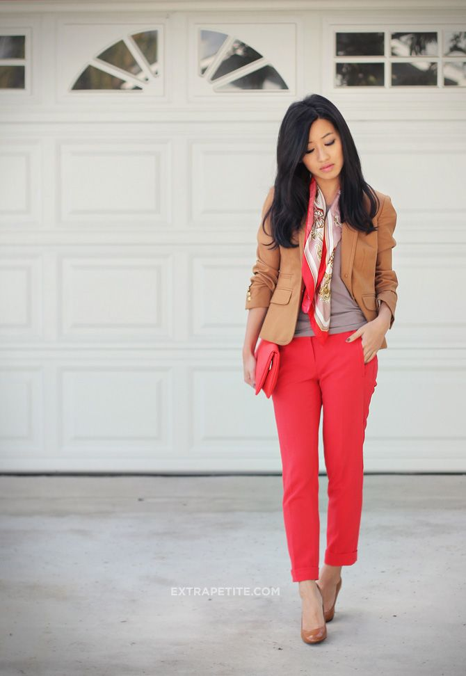 <work outfit> camel brown blazer, red pants, light silk printed scarf for the office