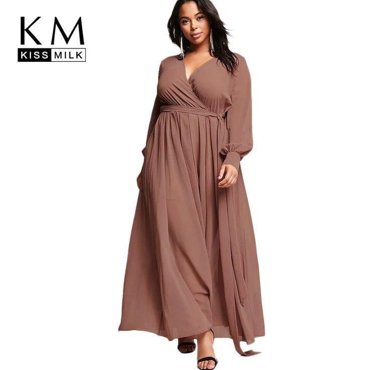 kissmilk 2017Plus Size Solid Women Long Dresses Lace Up V-neck Long Sleeve  Female Clothing Elegant Big Size Sexy Lady Dress  dbb6959a334c