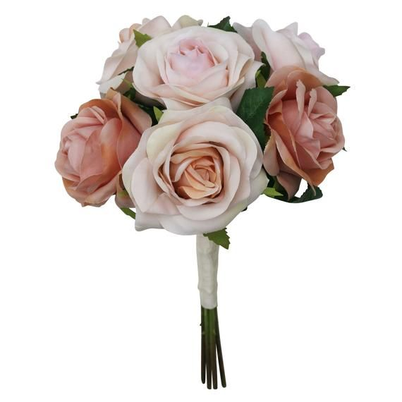 Artificial Flowers Bride /& Bridesmaid Wedding Bouquets large rose only Champagne Blush Pink Rose Gold Bridal Wedding Bouquet