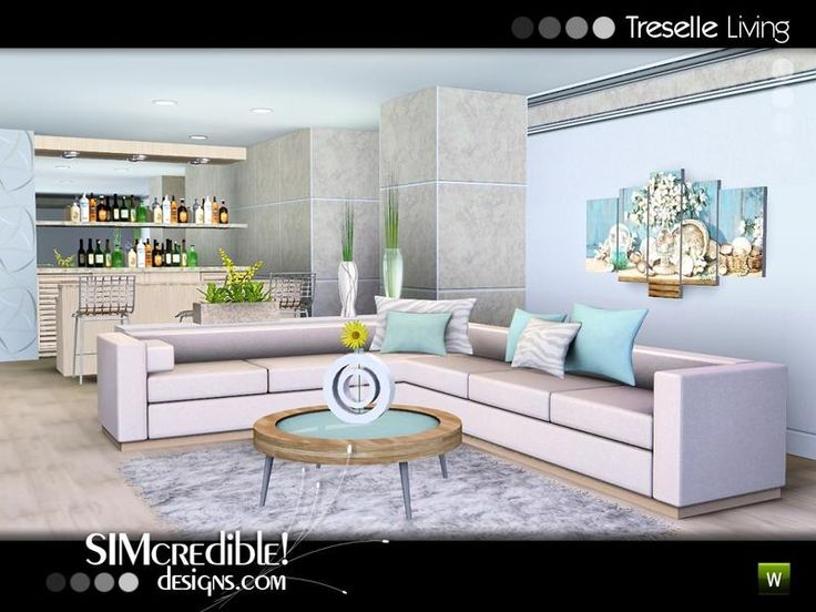 A Modern Living Room With Bar Area For Your Sims Enjoy By SIMcredibledesigns