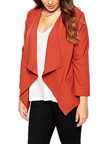 Oure Women Soft Plus Size Casual Blazers Long Sleeve Suit Jackets brick red US14 Oure http://www.amazon.com/dp/B0176A5T9I/ref=cm_sw_r_pi_dp_s3Dmwb0RBZ8G8
