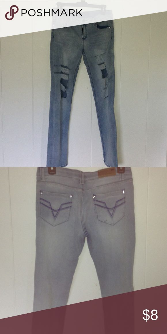 Ripped Jeans - Stretchy Material, Fits 26-28 Pants Straight Leg