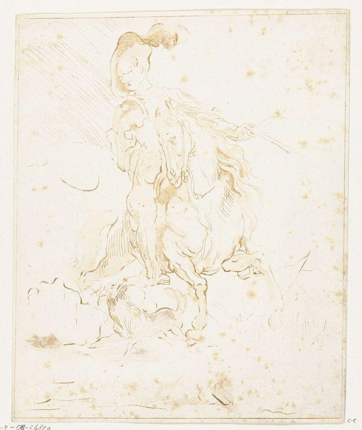 Anthonie van den Bos   Ruiter met hond, Anthonie van den Bos, Anthony van Dyck, 1778 - 1838   Een soldaat met wapenrusting en een pluim aan zijn hoed, te paard. Een hond loopt tussen de benen van het paard. Op de achtergrond zijn oprukkende soldaten met een vlag schematisch weergegeven.