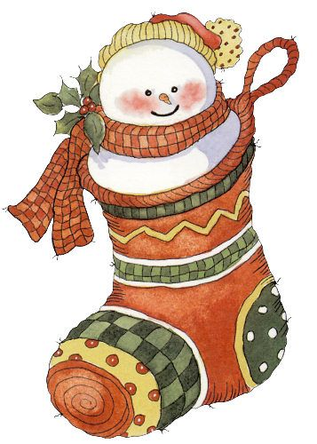 ❄❄❄❄.♥...☆...❤...☆...♥.❄❄❄❄ CHRISTMAS SNOWMAN STOCKING CLIP ART