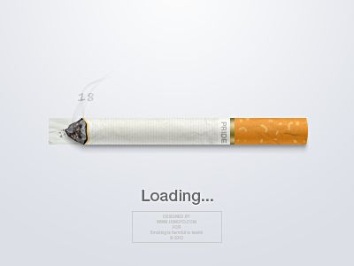 This is a super creative progress bar, the concept is the cigarette will burn to the speed of the browser load time, this designer also put alot of details into the cigarette itself, Nice Job! #design #details #cigarette #dribbble #inspiration