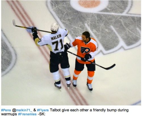 Evgeni Malkin and Max Talbot give each other a friendly bump during warmups