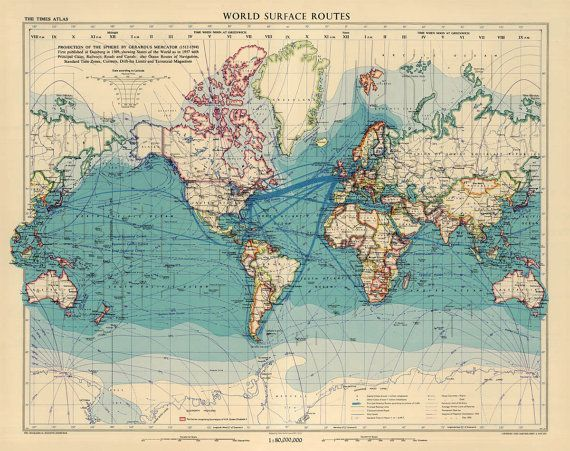 Vintage world map, showing states, principal cities, railways, roads, canals, ocean routes of navigation, standard time zones, currents and terrestrial magnetism.
