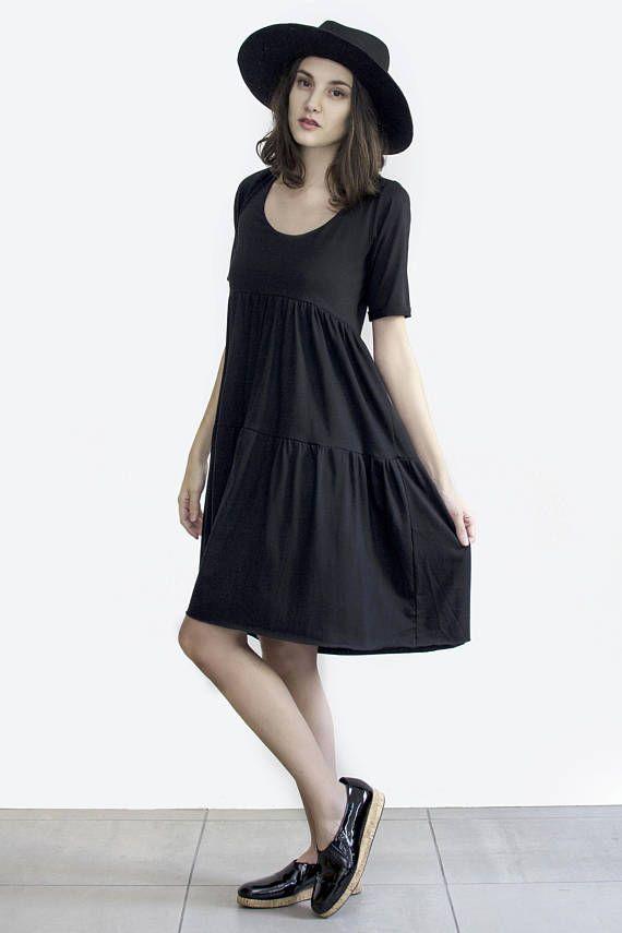 Black Smock Dress Black Midi Dress Loose black dress