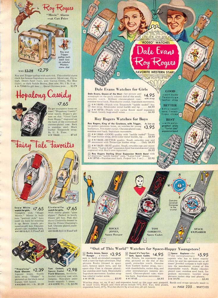 Vintage Roy Rogers Watches from a 1955 Spiegel catalog