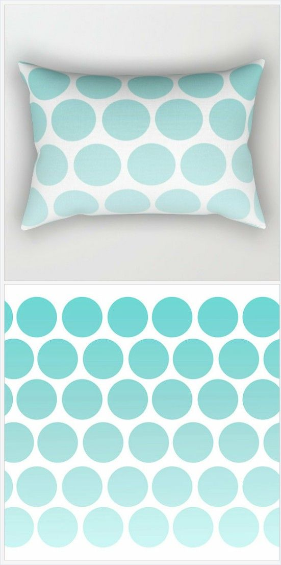 Polka Dot Pillow Cover - Inserts Included - Blue Polka Dots -Bed Pillow with Blue Polka Dots - Rectangular Lumbar - Made to Order
