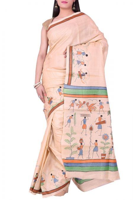 Ivory Hand Painted Tribal Tussar Silk Saree