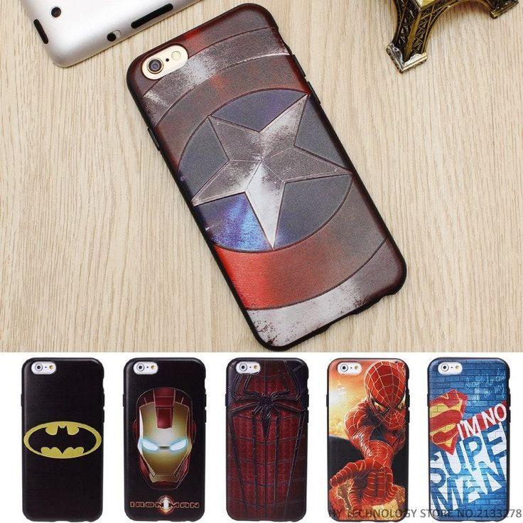 0e5b3b190db3b Marvel super hero emboss luxo macio tpu casos de telefone de silicone para  iphone 5 7 além de si 6 6 s tampa traseira case batman homem de ferro