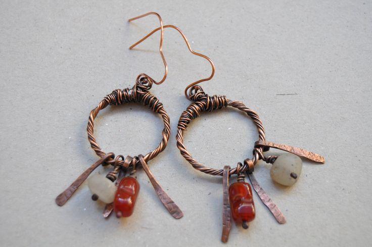 Copper wire work earrings with tumbled marble bead by VAN VUUREN designs