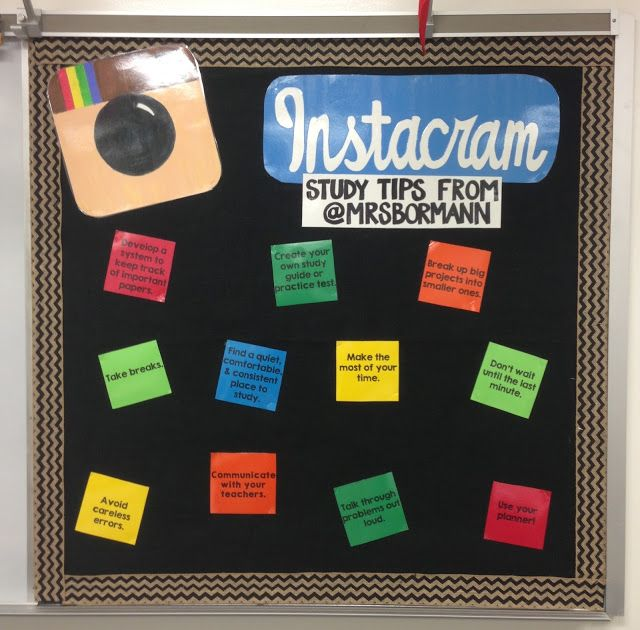 Clever idea for a study tips board! Good for any month, but especially midterms or finals!