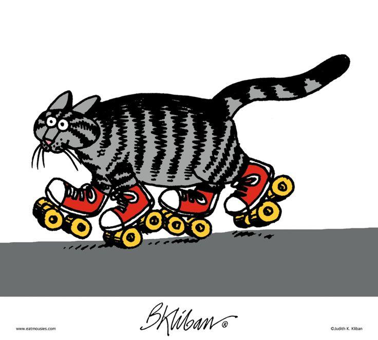 Kliban Cat On Roller Skates Cartoon Illustration