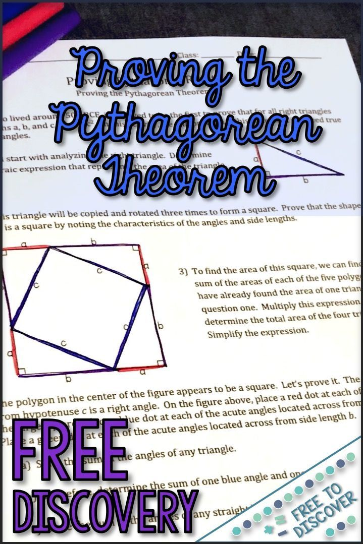 Fresh Ideas - Pythagorean Theorem Proof Discovery Worksheet