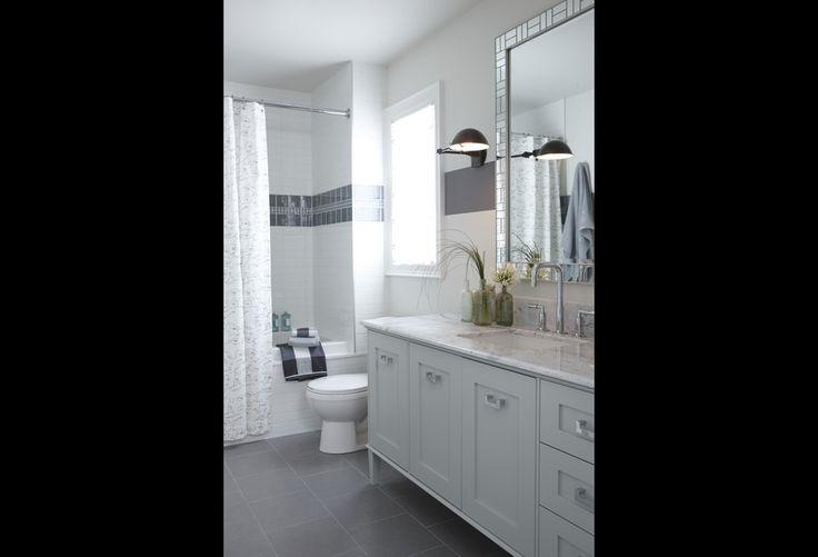 Gray Floor Tile White Subway Tile Shower Surround Gray