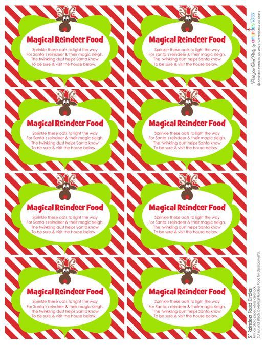 Reindeer Food Tags Free Download: Kids Christmas, Reindeer Food Tag ...