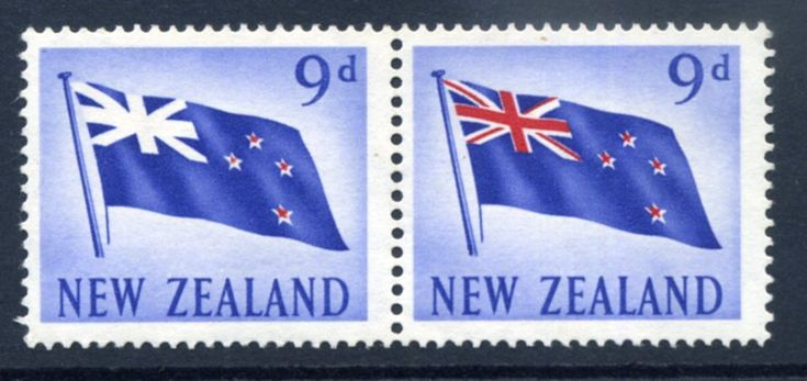 NZ Error 9d 1960 Pictorials pair, red omitted 90% on the one, only the 4 stars left, unh mint, nice in pair, red omitted