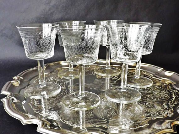 6 Fine Etched Edwardian Pall Mall Glasses Antique Sherry Port