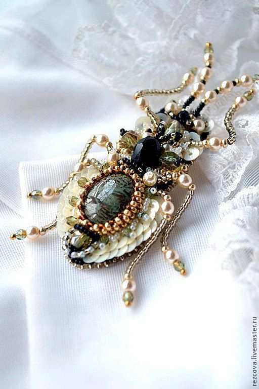 Bug brooch. Nature jewelry insect jewelry by BeadedNatureJewelry