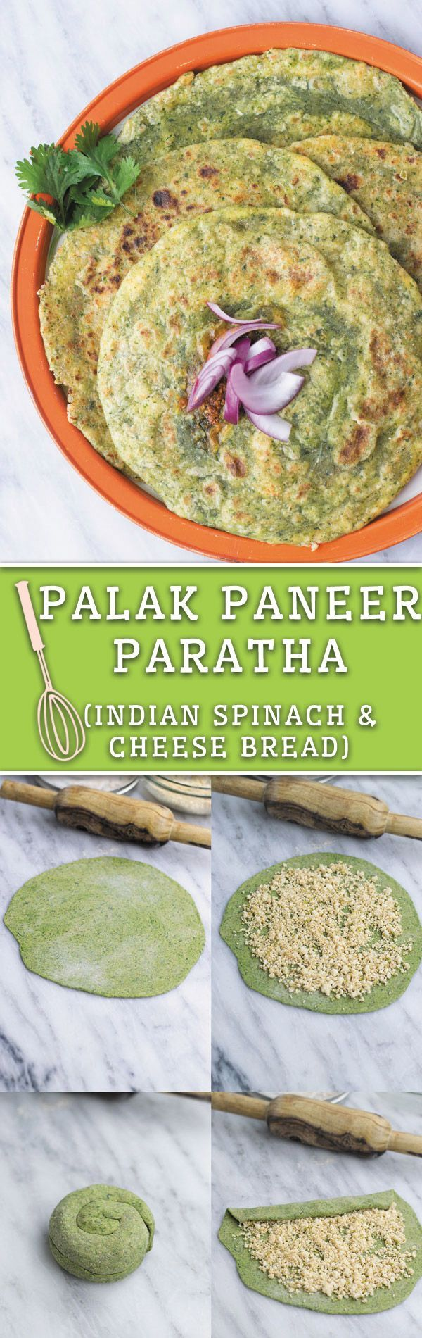 Palak Paneer Paratha- Indian flatbread dough made with spinach and stuffed with seasoned Indian cheese, perfect healthy breakfast or side dish!