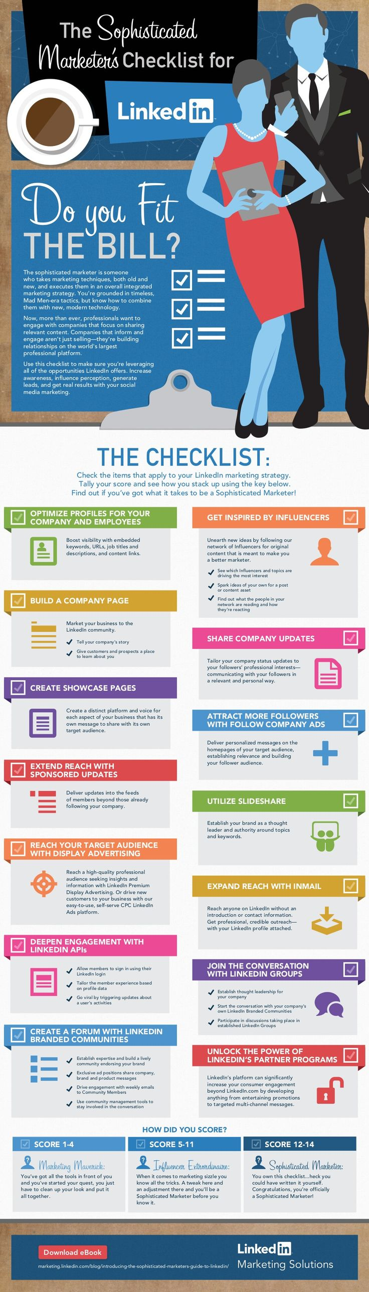 The Sophisticated Marketer's Checklist for #LinkedIn - #socialmedia #marketing - No B.S. University http://www.NOBSU.com