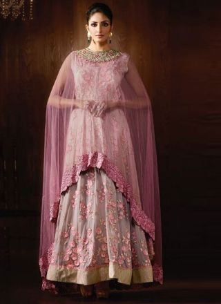 Violet Embroidery Work Georgette Net Fancy Designer Anarkali Long Suit http://www.angelnx.com/Salwar-Kameez/Anarkali-Suits
