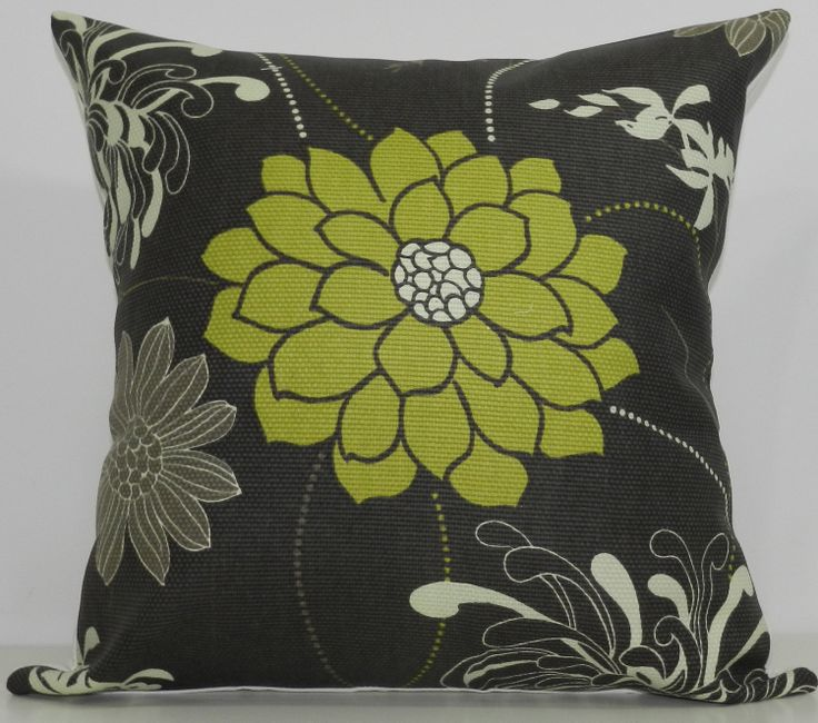 New 18x18 inch Designer Handmade Pillow Case in grey and green floral. $25.00, via Etsy.