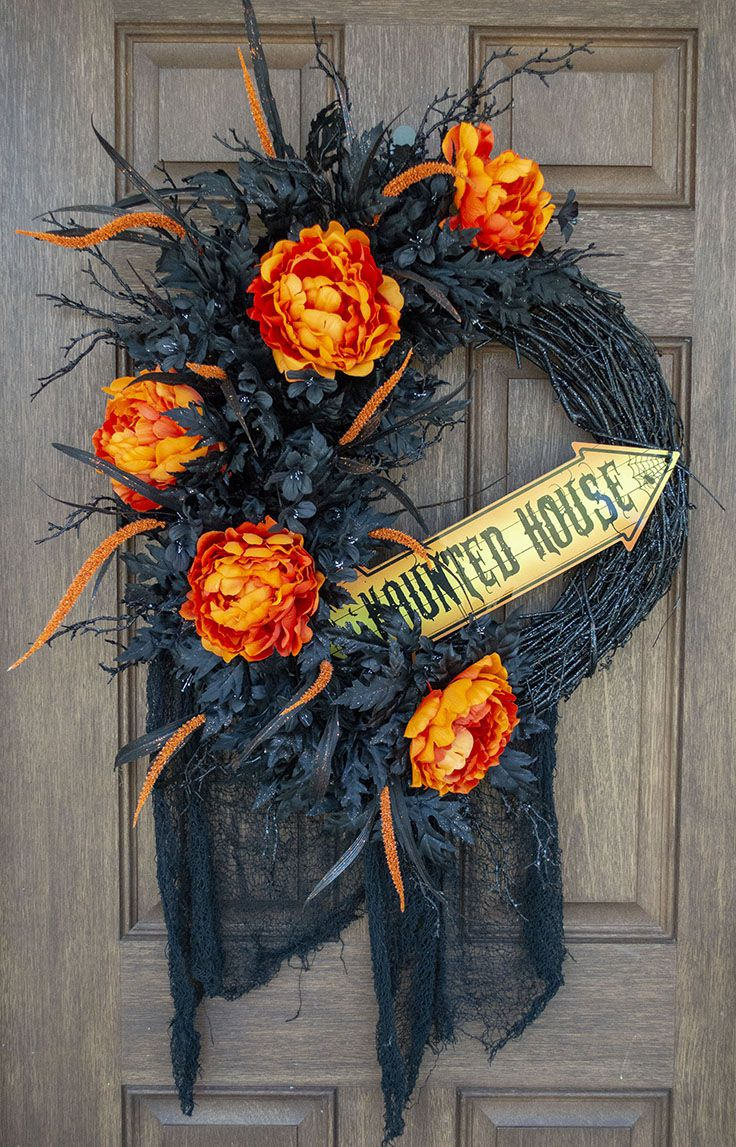 Halloween Door Wreath, Halloween Wreath, Halloween Decor