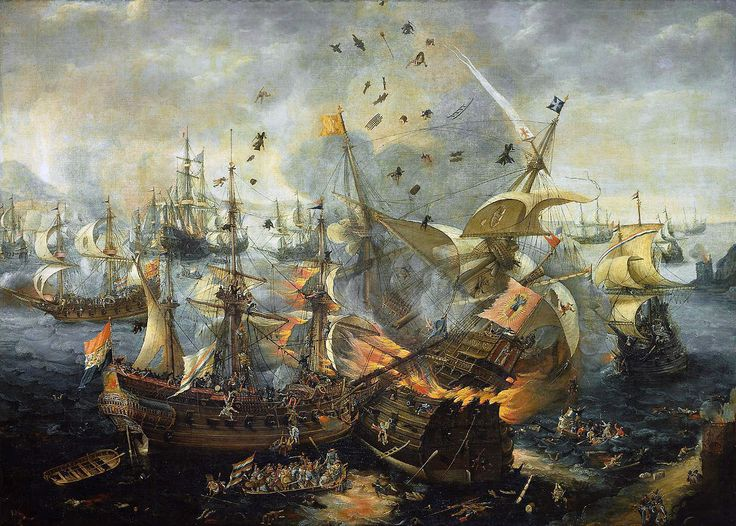 The Explosion of the Spanish Flagship during the Battle of Gibraltar, 25 April 1607, attributed to Hendrik Cornelisz. Vroom (ca. 1562-1640)
