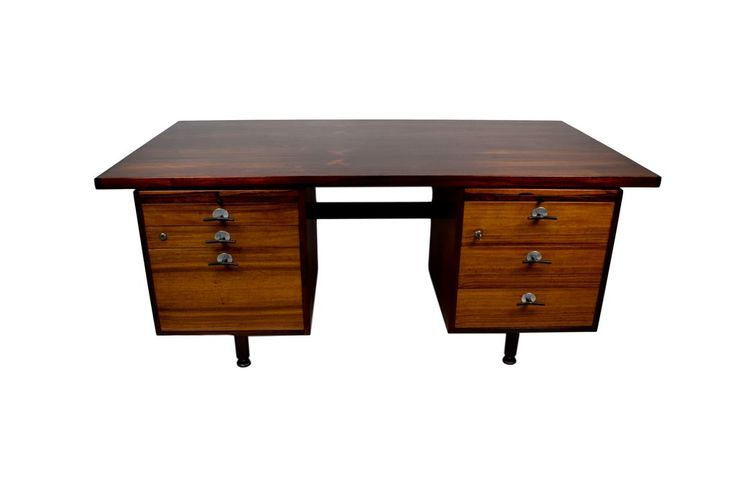 A rosewood desk by Jens Risom with y-handles and adjustable legs