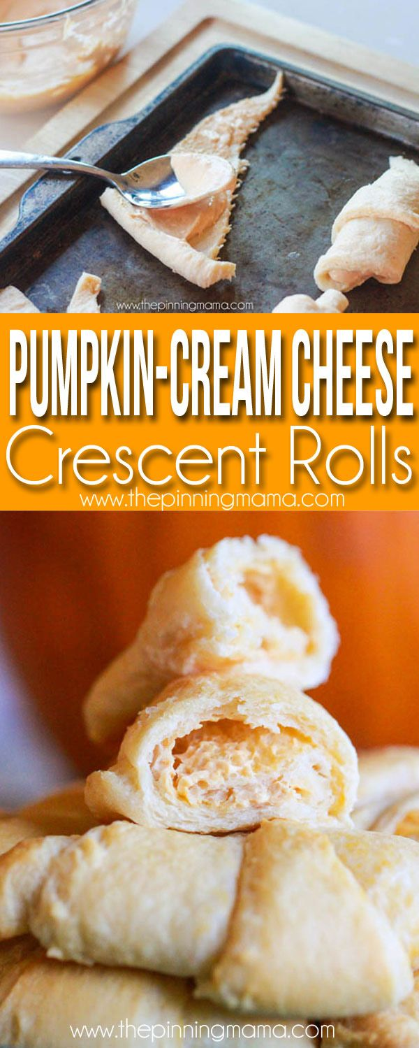 3 ingredient Pumpkin Cream Cheese Crescent Roll Recipe- These are TO DIE FOR Delicious! Perfect for fall and Thanksgiving breakfast idea!