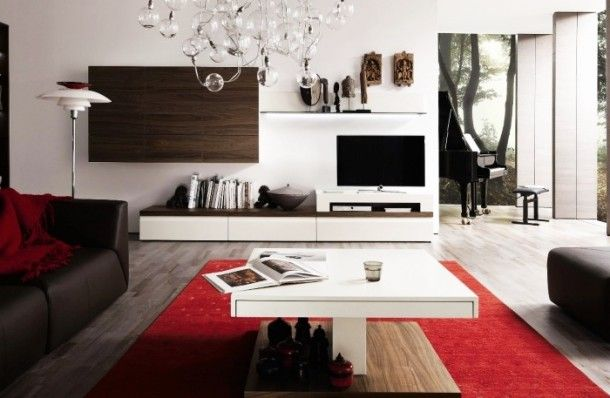 Decoration - Amazing White Media Center With Wooden Wall Unit And Artistic Hanging Lamp And Standing Lamp With Piano Background: Wood Wall P...