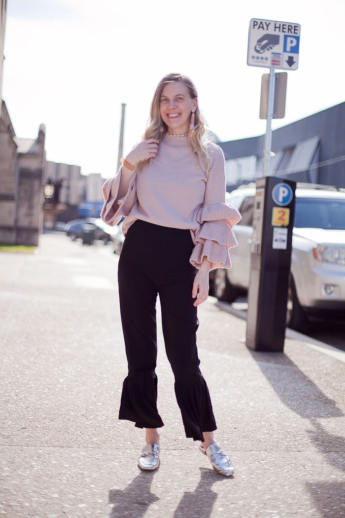 OUTFIT/ Flare Hem Trousers – cocorosa