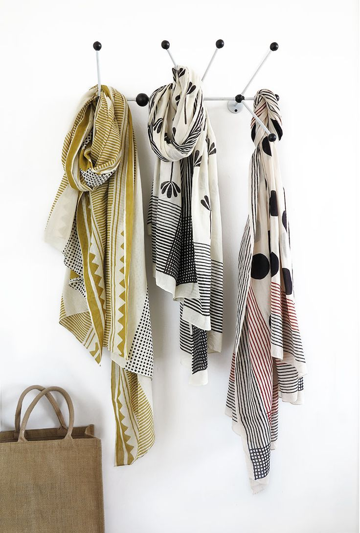 Limited edition hand block printed scarves by Skinny laMinx.                                                                                                                                                                                 More
