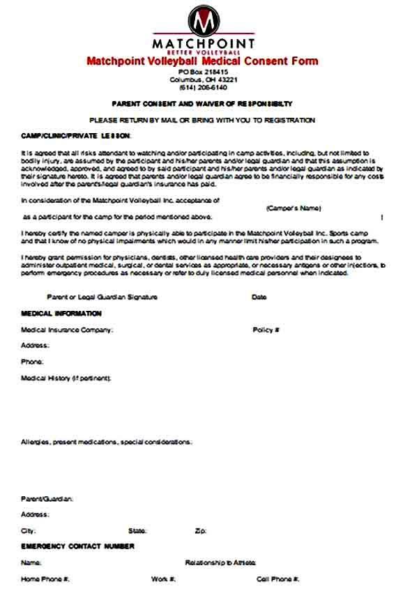 Sample Medical Consent Form Consent Forms Medical Medical Information