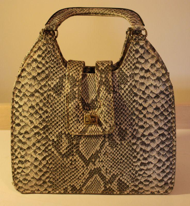 black and white snakeskin vintage handbag