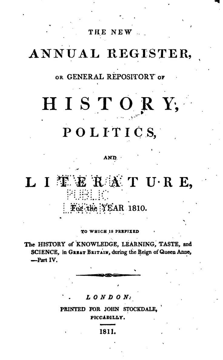 The New Annual Register, Or General Repository of History, Politics, and ...  by Andrew Kippis , William Godwin , George Robinson    Published 1811