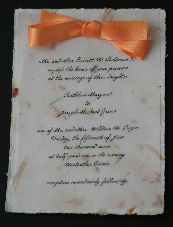 Wedding Invitation: Vellum over Handmade Flower Paper ...
