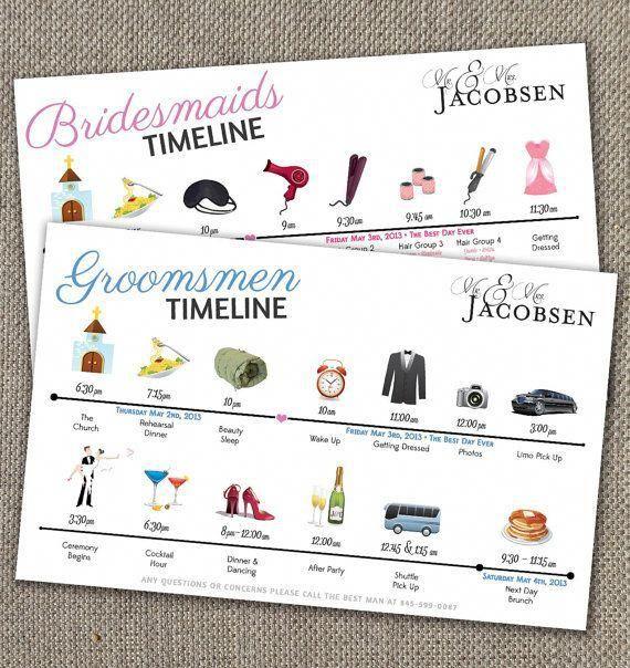 Bridesmaids & Groomsmen Time Line
