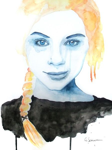 'Happy Tears' Portrait Painting by Guinevere Saunders Artist Watercolor on 140lb Watercolour Paper 2014