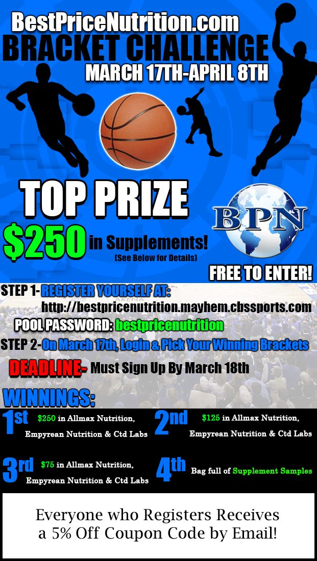 Best Price Nutrition is hosting the 1st NCAA Bracket Challenge for March Madness 2013!