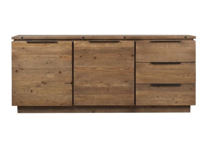 The Hoxton large sideboard is made from gorgeous, richly grained reclaimed pine. The beauty of the reclaimed look is that every piece of furniture is unique, with its own individual pattern of grain, knots and slight colour variation. There is one cu...